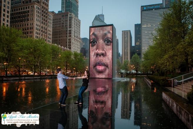 Millenium Park Chicago Engagement Photos-23